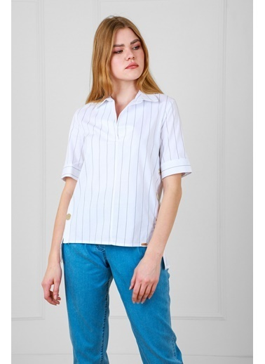 JEANNE D'ARC Çizgili Pamuk Kumaş Çıtçıt Detaylı Kısa Kol Bluz  Beyaz